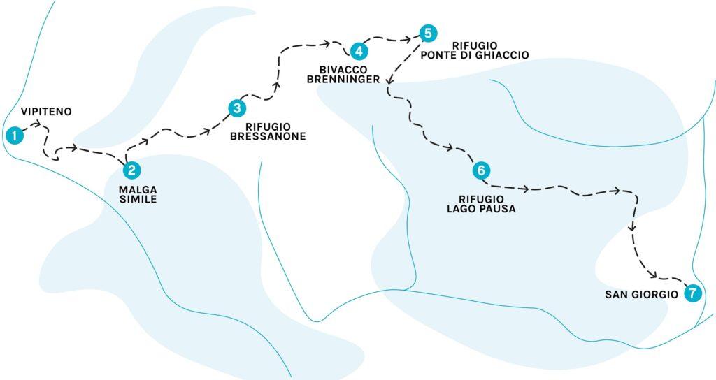 La cartina dell'Alta via di Funderes